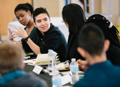Students talk on a Student Voices panel